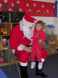 No way is this beautiful two-year-old going to grow up and stop believing in Santa.