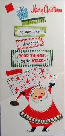 Mid-century Santa Christmas card